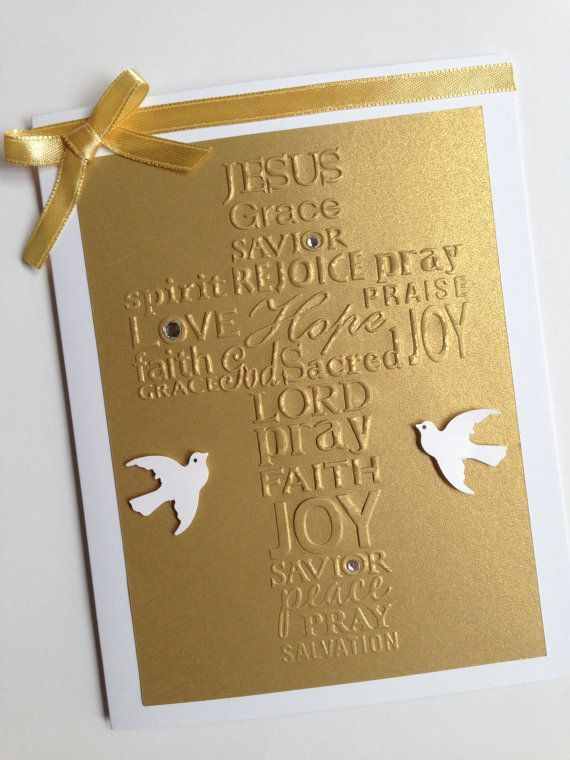 Golden Cross Embossed Card  Perfect to Baptism  Christening  Encouragement  Announcement