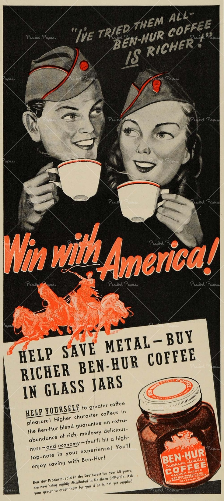 1942 ad for ben-Hur coffee to aid WWll soldier