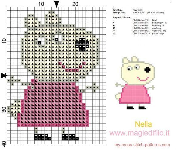 the friend of Peppa Pig Suzy sheep. Free cross stitch pattern. Cute sampler for nursery