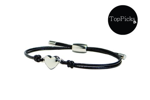 Fossil Heart Wrist Wrap Black Leather and Stainless Steel Bracelet