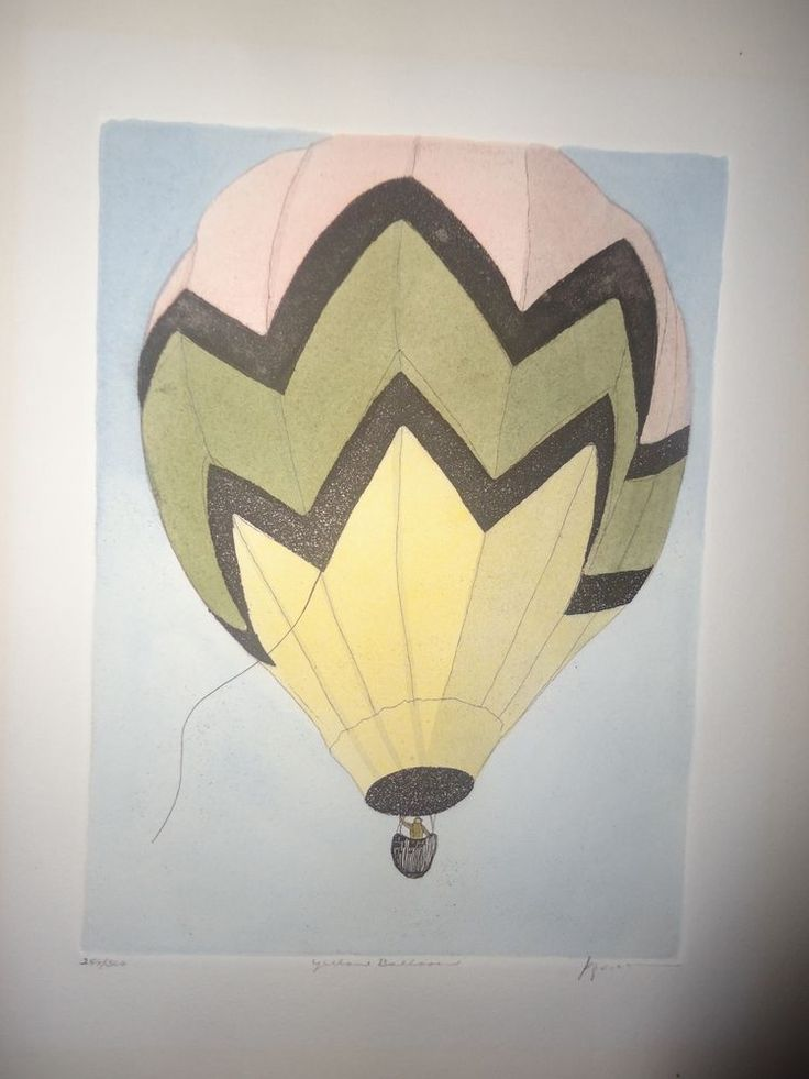 Transart Industries Limited Edition Artist Signed Print Yellow Balloon 1980 #ArtDeco