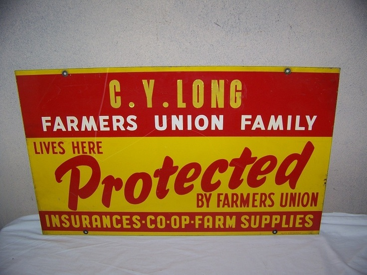 1950's Farmers Union Insurance 2 Sided Metal Sign