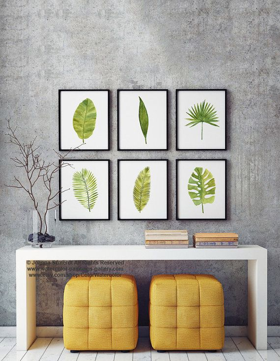 Palm Leaf Watercolor Painting Set 6 Different Palm Tree Leaves, Banana, Coconut, Date, Tropical Monstera Abstract Art Print Green Wall Decor