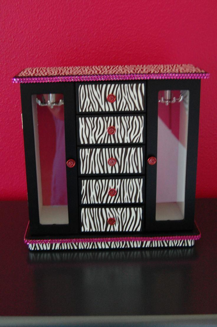 girls zebra striped jewelry box plain black then covered in zebra striped paper and strips