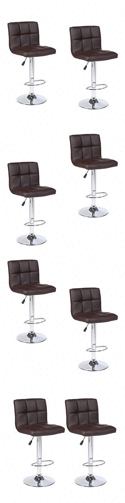 Bar Stools 153928: Modern Design Set Of 2 Bar Stools Leather Adjustable Swivel Pub Chair In Bown -> BUY IT NOW ONLY: $59.9 on eBay!