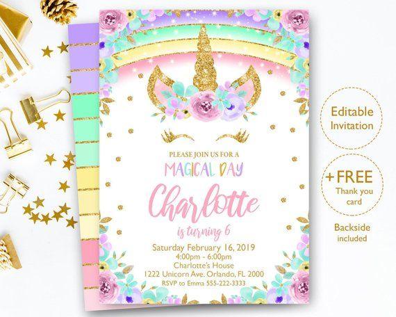 editable rainbow unicorn invitation