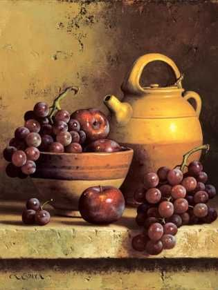 Freshwater Jug with Bowl of Plums & Grapes by  Loran Speck