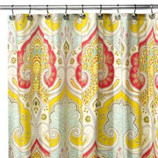 @Susanna Davy's yellow sundress hanging in the bathroom has inspired me to search for a yellow shower curtain. I like this one :D: Showers, Echo Design, Contemporary Shower, Color, Jaipur Fabrics, Fabrics Shower Curtains, Bathroom Ideas, Bathroom Shower, Beds Bath