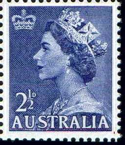 QE2 Definitive 2 1/2d -- Issued 23/06/1954.