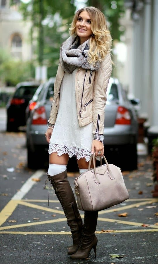 Perfect fall outfits with jacket, scarf and long boots. Love her style.