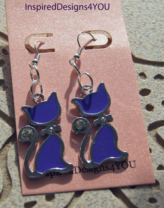 Enamel  Purple Cat with Accented Crystal  by InspiredDesigns4YOU, $15.00
