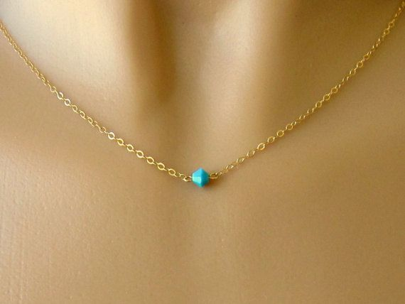 Minimalist Gold and Crystal Necklace -Tiny Swarovski Turquoise Crystal on Gold Filled Chain on Etsy, $26.00