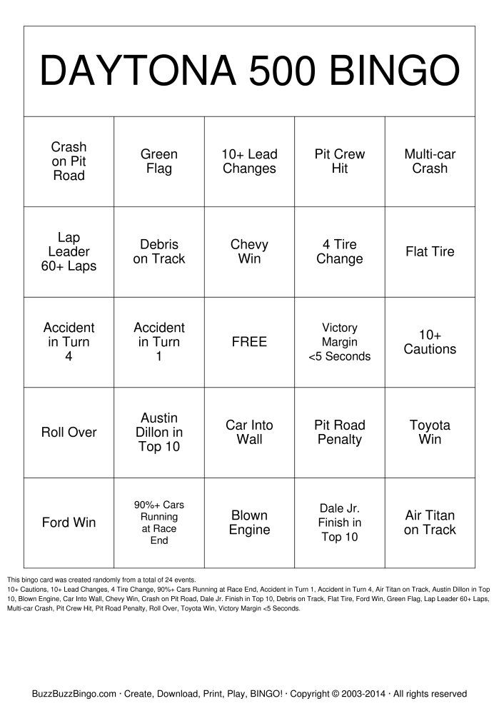 Randomly Generated DAYTONA 500 Bingo Card. DAYTONA 500 watching party?  Fans and non-fans will enjoy DAYTONA 500 Bingo. BuzzBuzzBingo is home to the popular Buzzword Bingo Party Game! Turn your next TV watching gathering into the ultimate couch party or spice up your classroom with a fun game for all! Print and download free DAYTONA 500 Bingo Cards or Make Custom DAYTONA 500 Bingo Cards.