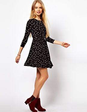 ASOS Skater Dress In Hummingbird Print With 3/4 Sleeves £25