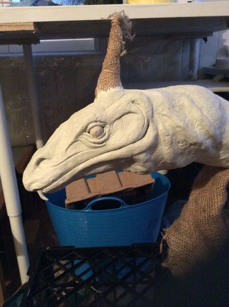 Goanna head paper clay, WIP