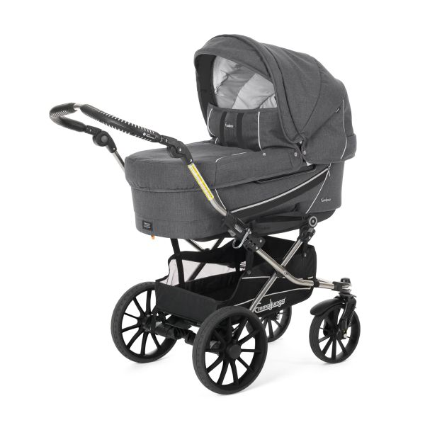 Emmaljunga Edge Duo Combi 2015:  Dallas Grey Pram, Cryptonite Chassi