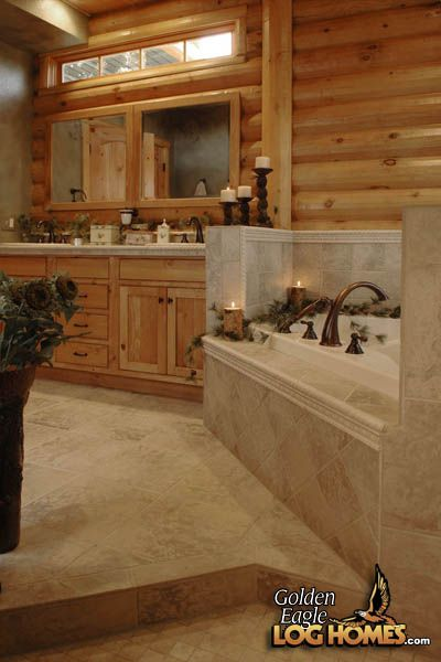 Photo Album Website Small window in a log home master bathroom