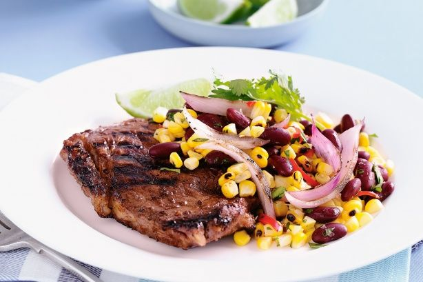 Mexican grilled steak with corn salad main image