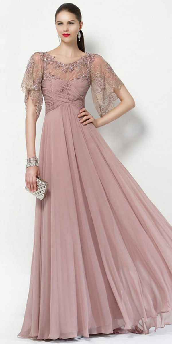 53dc4c6b5297 Romantic Tulle   Silk-like Chiffon Scoop Neckline Short Sleeves A-line  Mother Of The Bride Dresses With Beaded Lace Appliques