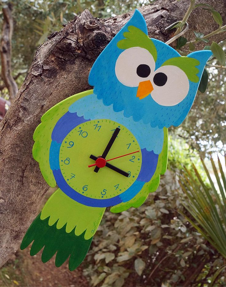 handmade wooden wall clock to brighten up your kids room ... www.a-line.cc