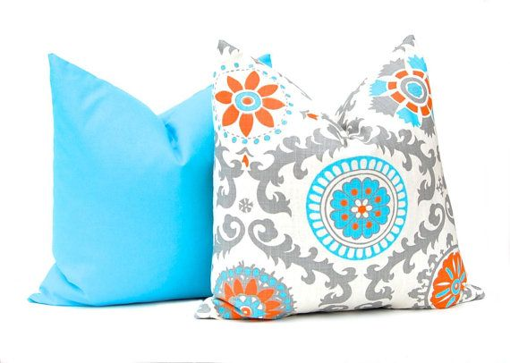 Decorative Throw Pillow Covers 20 x 20 by FestiveHomeDecor on Etsy Mandarin Rosa Turquoise Orange Home Decor Beach Decor  , $38.00