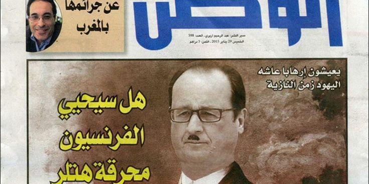 François Hollande grimé en Hitler en Une d'Al Watan Al An