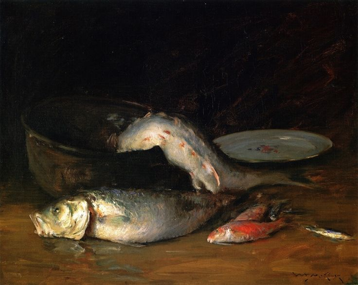 The Athenaeum - Big Copper Kettle and Fish (William Merritt Chase - )