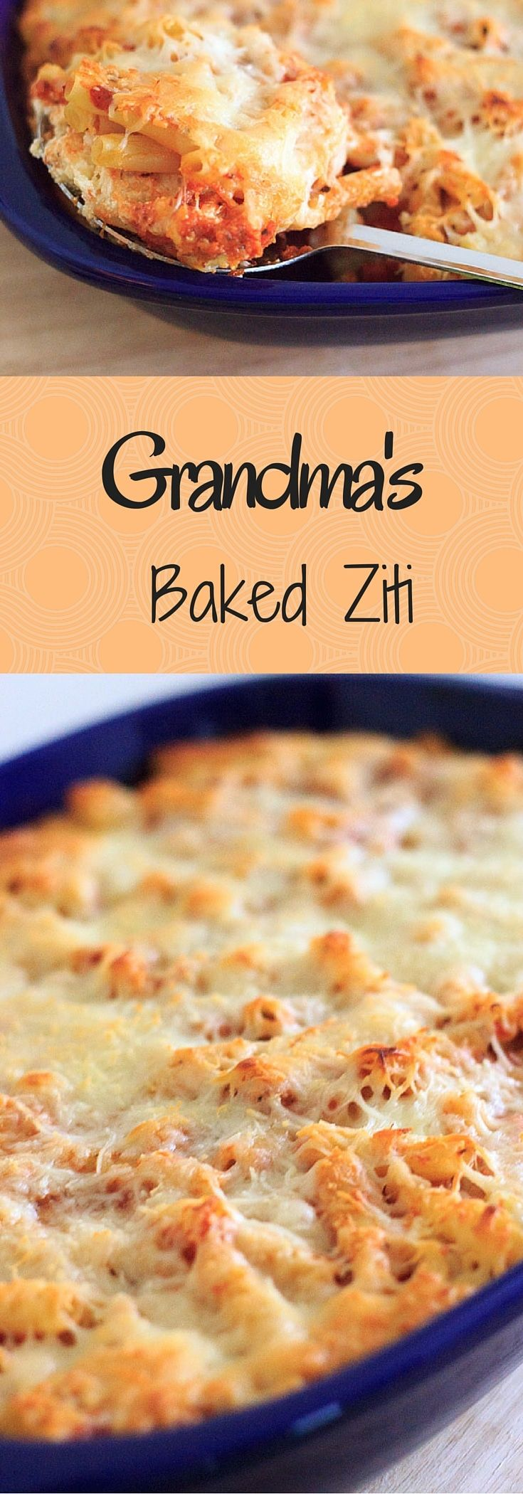 My grandma's vegetarian baked ziti will quickly become a family favorite. Requires only five ingredients! Easy comfort food that you can make ahead or freeze for later.