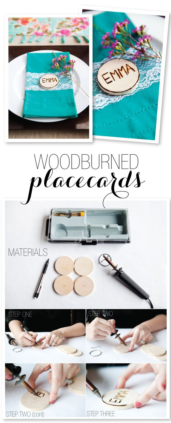Wood-burned Place card DIY  Photography: http://helmutwalker.com/ Design: http://www.stylingbyshawna.com/Home.html