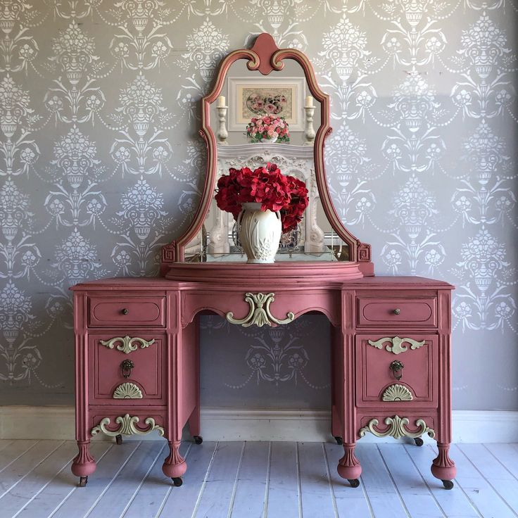 Florida Blanket Wrapped Shipping Included in Price Upcycled Vintage Rose Vanity Makeup Table Painted Furniture with Mirror in Tampa