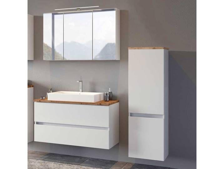 Badezimmerset In Weiss Und Wildeiche Optik Modern 3 Teilig In 2020 Waschtisch Set Moderne Badmobel Badezimmer Set