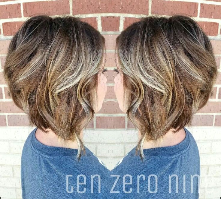 Reverse bayalage. From blonde to light brown. Wavy angled bob.  Plano, TX Studio Ten Zero Nine