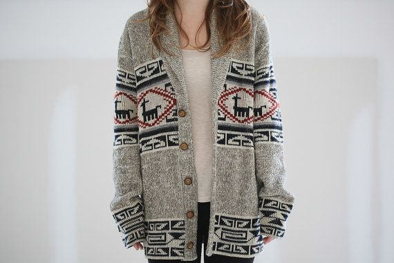 Vintage Fair Isle Llama Cardigan by refunktion on Etsy, $70.00