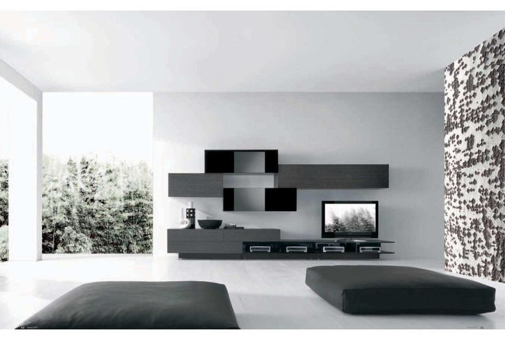 Modern TV Wall Unit Comp 228 Wood By Presotto Italy From ModulART Collection Has Unique Design Owing To Combination Of Glossy Lacquered And
