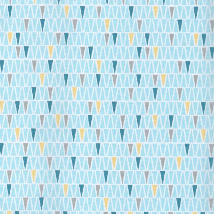 Le MOTIF 2 - TEAL & AQUA BLUE - GEOMETRIC PRINTS 100% COTTON FABRIC yellow grey