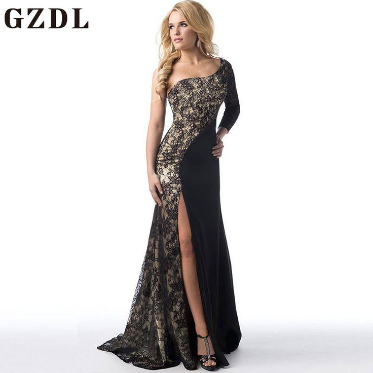 GZDL Elegant Summer Women One Shoulder Split Long Maxi Dress Sexy Asymmetrical Neck Backless Print Crochet Party Dresses CL3585