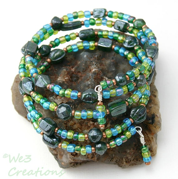 Green and Blue Glass Beads Memory Wire Bracelet by We3Creations01, $12.00