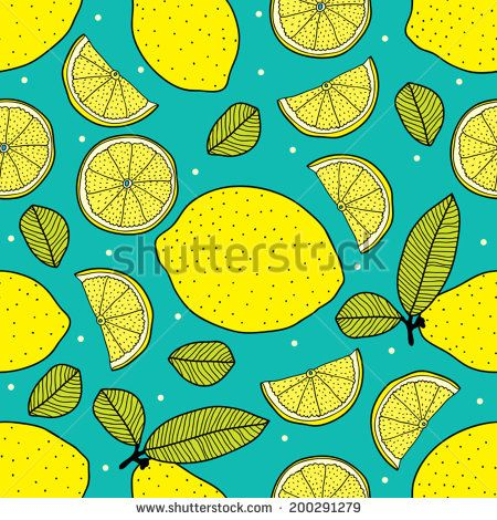 Vector seamless pattern of lemons on mint background.