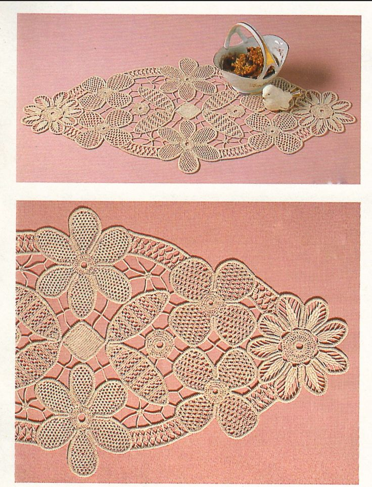 Fiber Art Reflections: Oval mat with large flowers - Romanian Point Lace Crochet