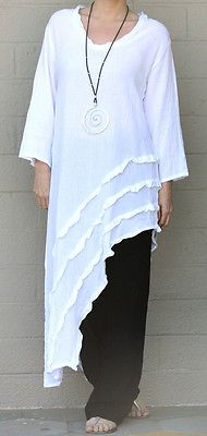 OH MY GAUZE Cotton Angle Hem  RAIN  Long Tunic Top 1 (S/M/L)  2 (L/XL/1X)  SNOW