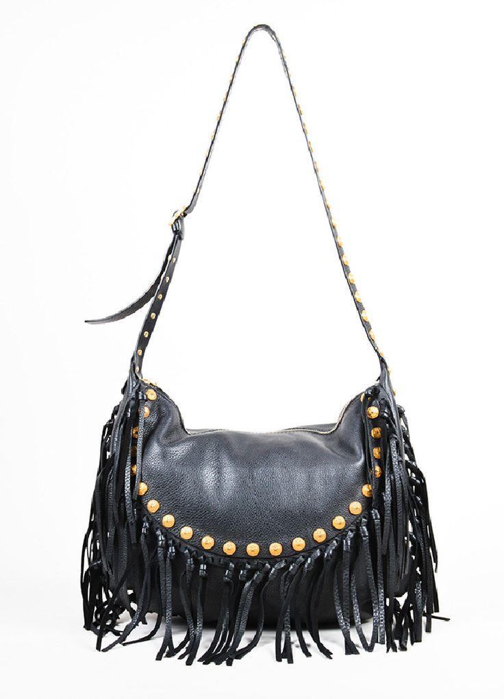 """Black Leather Valentino Gold Toned Studded Fringe Trim """"Rockee"""" Hobo Shoulder Bag"""