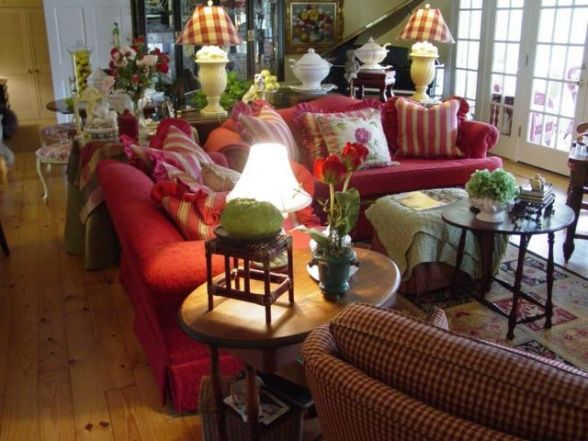 Interiors Design French Country Red Couch English Country