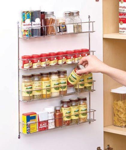 Wall Mount Spice Rack Organizer Kitchen Wire Storage Holder Pantry Door Cabinet Wall Mount