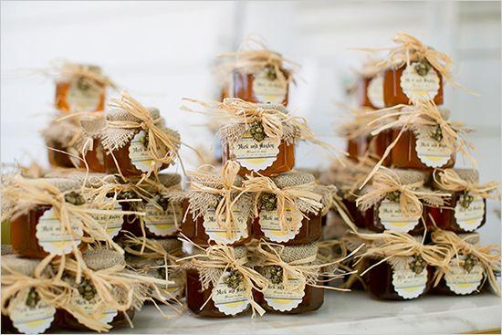 Rustic Favors - Honey jars with burlap and tan rafia