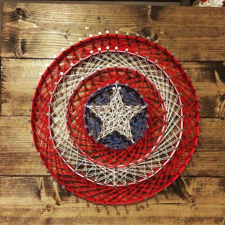 Captain America's famous shield! #marvel #stringart #diy #Captain #America #shield #art