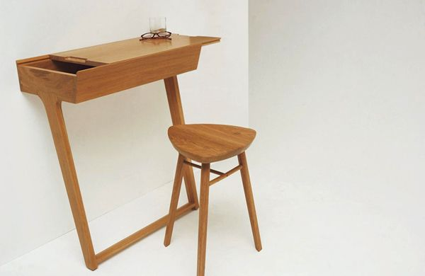 Quello - Console Table and Stool by Phil Proctor - Minimal table for knick knacks.: It Work, Work Desks, Small Desks, Spaces Save, Phil Proctor, Small Spaces, Folding Chairs, Phil Procter, Quello Tables