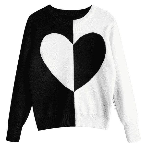 Pullover Two Tone Heart Sweater Black ($23) ❤ liked on Polyvore featuring tops, sweaters, zaful, sweater pullover, pullover top, pullover sweater, heart sweaters and two tone sweater