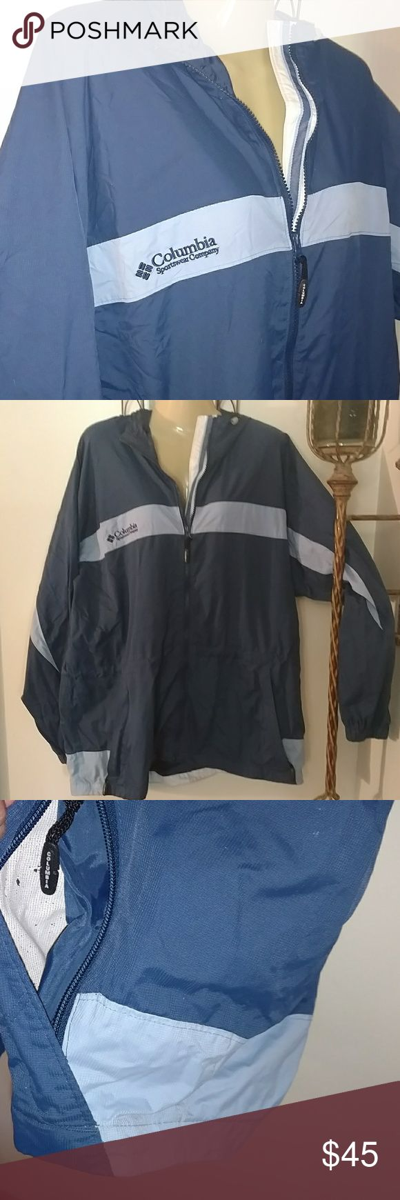 WOMEN'S COLUMBIA COAT Design as Shown Excellent Condition Hood can be left out or rolled up as Shown Mesh lining as Shown X2 Zippered Side Pockets Toggle Hood to tighten down Toggle waist to tighten or loosen Blue on Baby Blue are Colors w white Accent Color Weather proof Columbia Jackets & Coats
