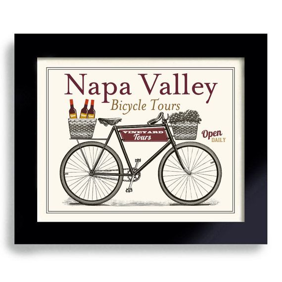 Idée cadeau vin Unique Art de vélos Bar Decor vignobles par DexMex