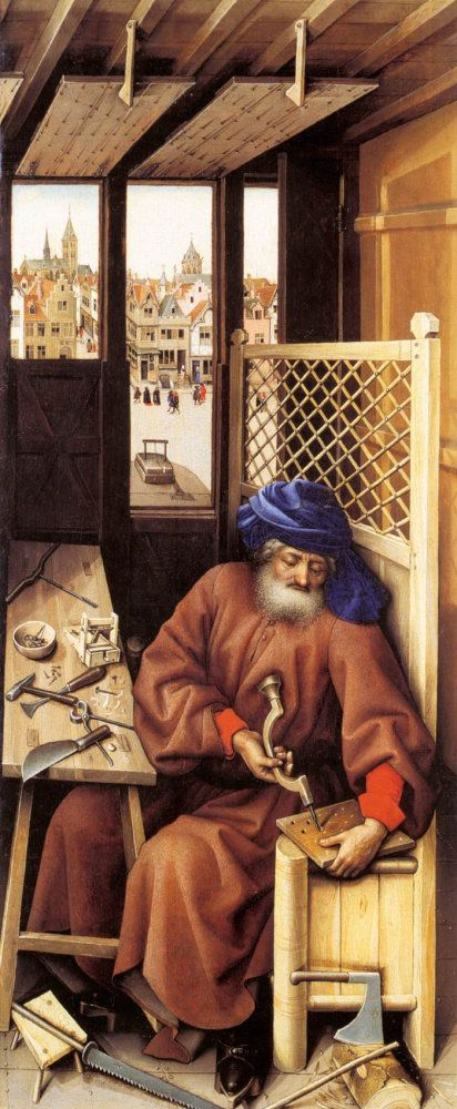 Joseph in His Carpentry Shop, Robert Campin, c.1425-28